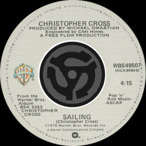 Christopher Cross的專輯Sailing / Poor Shirley [Digital 45]
